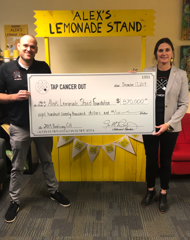 Tap Cancer Out Presents Alex's Lemonade Stand with $870,000 Gift